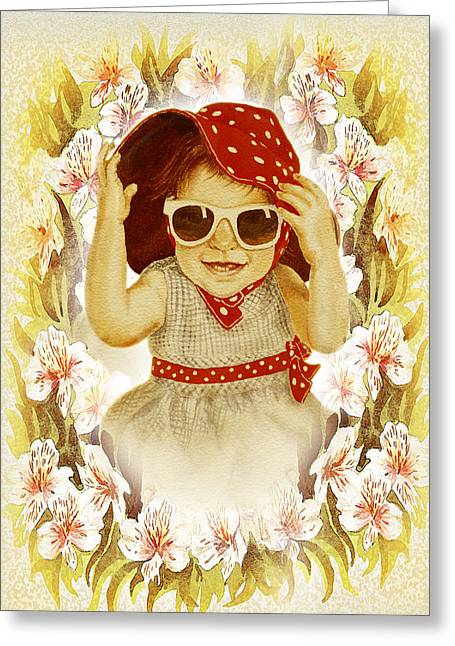 Polka Dot Greeting Cards - Vintage Fashion Girl Greeting Card by Irina Sztukowski
