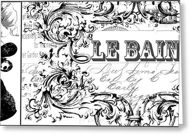 Powder Mixed Media Greeting Cards - Vintage Faucet Bath Print Le bain text Greeting Card by AdSpice Studios