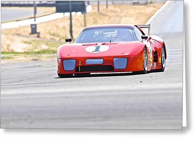 Oval Photographs Greeting Cards - Vintage Ferrari 6 Greeting Card by Dave Koontz