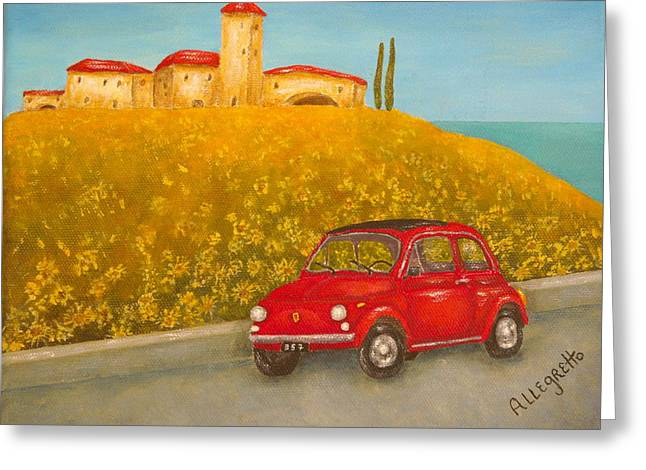 Pam Franz Greeting Cards - Vintage Fiat 500 Greeting Card by Pamela Allegretto
