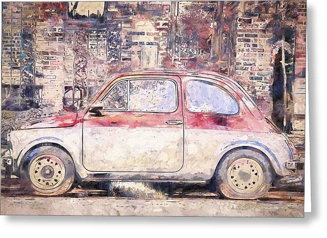 Vintage Fiat 500 Greeting Card by Scott Norris