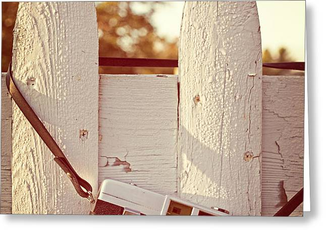 Vintage film camera on picket fence Greeting Card by Edward Fielding