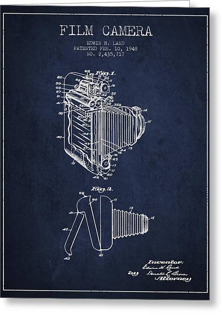Camera Greeting Cards - Vintage film camera patent from 1948 Greeting Card by Aged Pixel