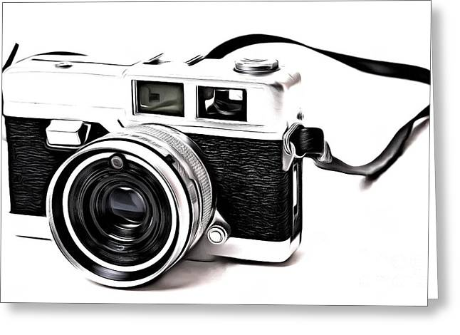 Pop Photographs Greeting Cards - Vintage Film Camera Pop Greeting Card by Edward Fielding