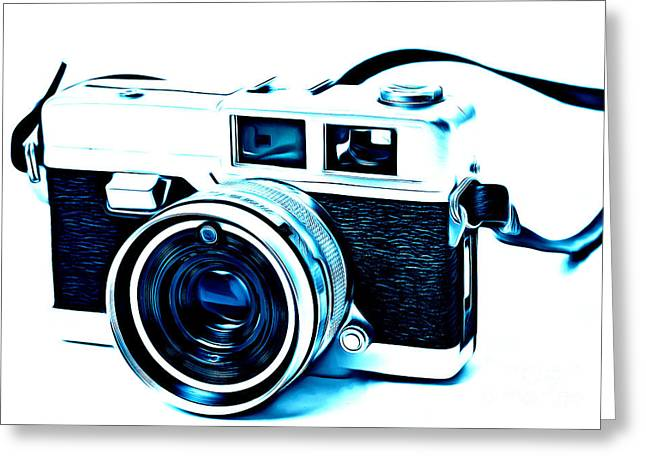 Slr Greeting Cards - Vintage Film SLR Camera Blue Greeting Card by Edward Fielding