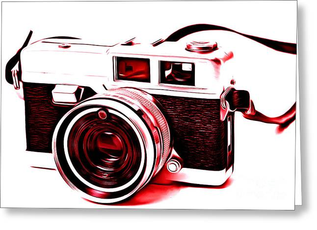 Slr Greeting Cards - Vintage Film SLR Camera Red Greeting Card by Edward Fielding