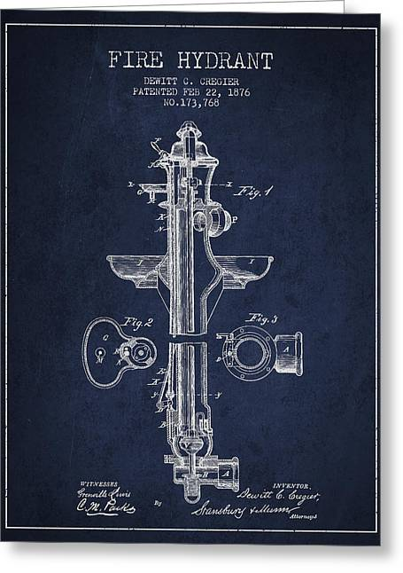 Fire Hydrants Greeting Cards - Vintage Fire Hydrant Patent from 1876 Greeting Card by Aged Pixel