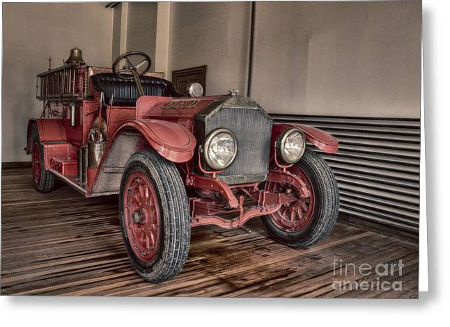 Brigade Greeting Cards - Vintage Fire Truck Greeting Card by Darcy Michaelchuk