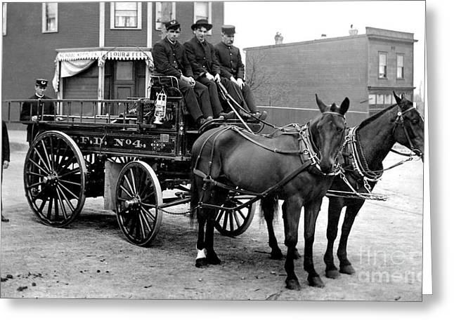 Wagon Greeting Cards - Vintage Fire Wagon Greeting Card by Jon Neidert
