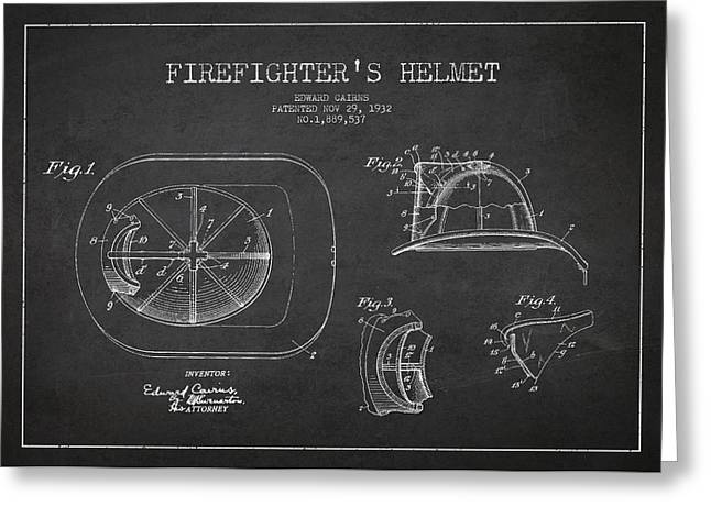 Properties Greeting Cards - Vintage Firefighter Helmet Patent drawing from 1932 Greeting Card by Aged Pixel