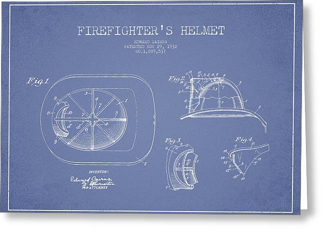 Firefighter Greeting Cards - Vintage Firefighter Helmet Patent drawing from 1932 - Light Blue Greeting Card by Aged Pixel