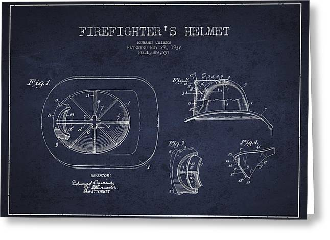 Firefighter Greeting Cards - Vintage Firefighter Helmet Patent drawing from 1932 - Navy Blue Greeting Card by Aged Pixel