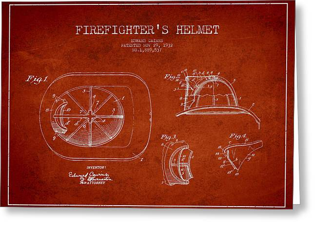 Firefighter Greeting Cards - Vintage Firefighter Helmet Patent drawing from 1932-Red Greeting Card by Aged Pixel