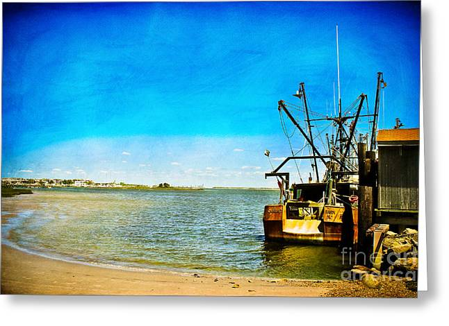 Boats At Dock Greeting Cards - Vintage Fishing Boat Greeting Card by Colleen Kammerer