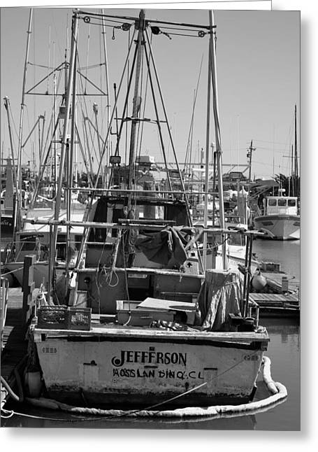 Moss Landing Boats Greeting Cards - Vintage Fishing Boat Greeting Card by Shawn Dechant