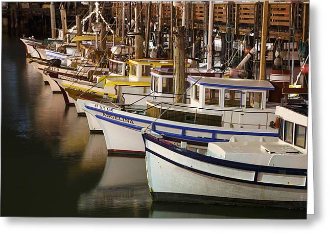 Fishermen Wharf Greeting Cards - Vintage Fishing Boats Greeting Card by Adam Romanowicz