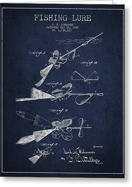 Vintage Fishing Lure Patent Drawing From 1929 Greeting Card by Aged Pixel
