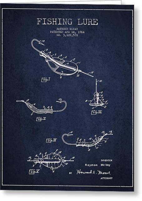 Vintage Fishing Lure Patent Drawing From 1964 Greeting Card by Aged Pixel