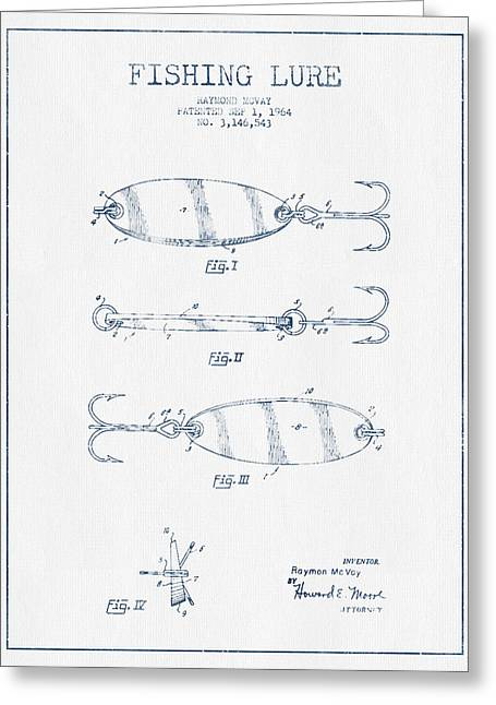Fishing Greeting Cards - Vintage Fishing Lure Patent Drawing from 1964 - Blue Ink Greeting Card by Aged Pixel