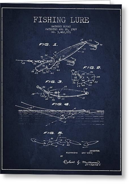 Fly Fishing Digital Art Greeting Cards - Vintage Fishing Lure Patent Drawing from 1969 Greeting Card by Aged Pixel