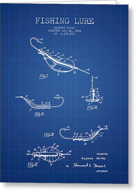Tackle Greeting Cards - Vintage Fishing Lure Patent from 1964 - Blueprint Greeting Card by Aged Pixel