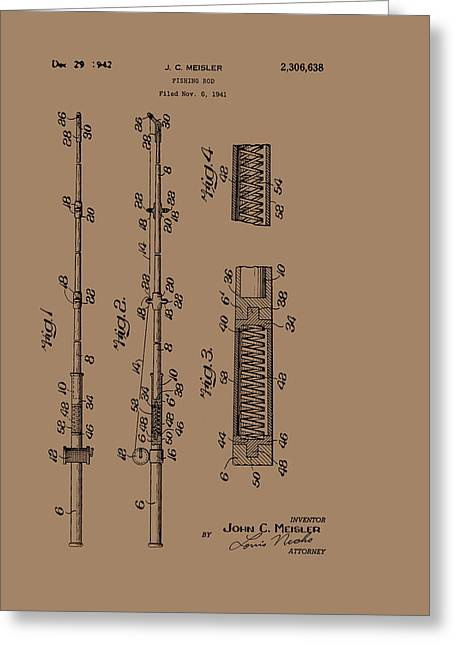 Pole Drawings Greeting Cards - Vintage Fishing Rod Patent 1942 Greeting Card by Mountain Dreams