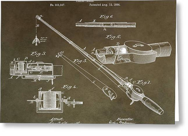 Fishing Bait Shop Greeting Cards - Vintage Fishing Tackle Patent Greeting Card by Dan Sproul