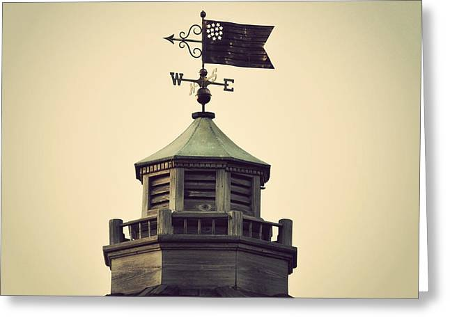 Weathervane Greeting Cards - Vintage Flag Weathervane Greeting Card by Terry DeLuco