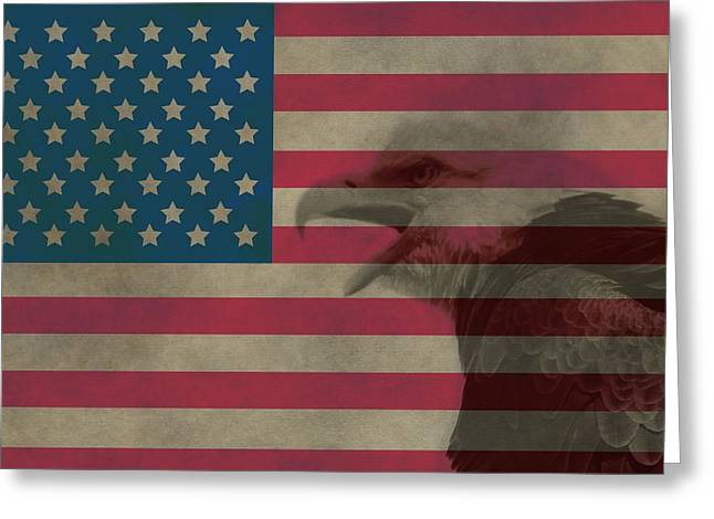 4th Of July Mixed Media Greeting Cards - Vintage Flag With Bald Eagle Greeting Card by Dan Sproul