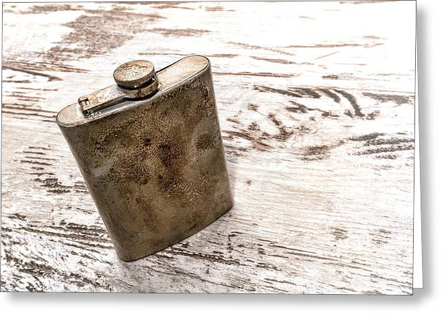 Flagon Greeting Cards - Vintage Flask Greeting Card by Olivier Le Queinec