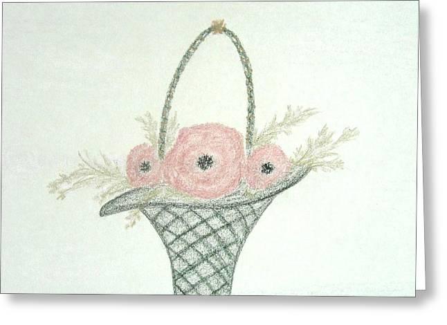 Basket Pastels Greeting Cards - Vintage Floral Basket Greeting Card by Christine Corretti