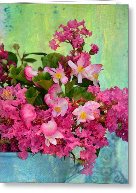 Charming Cottage Digital Art Greeting Cards - Vintage Floral Greeting Card by Carla Parris