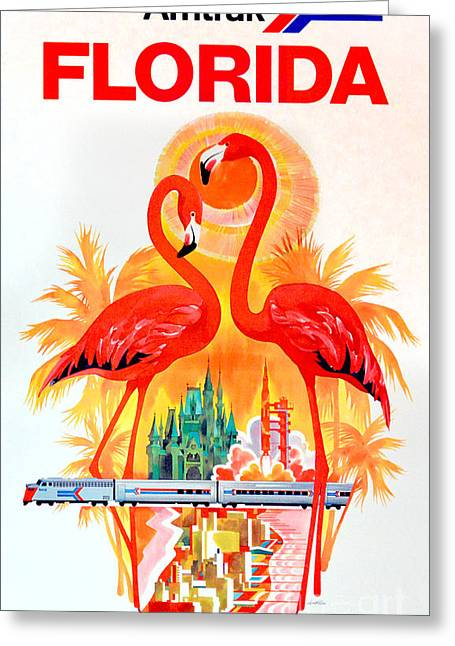 Naples Greeting Cards - Vintage Florida Amtrak Travel Poster Greeting Card by Jon Neidert