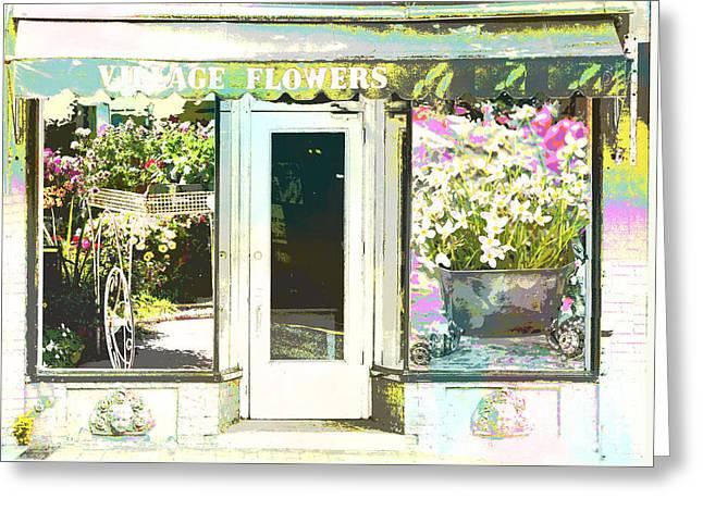 Main Street Mixed Media Greeting Cards - Vintage Flower Shop Greeting Card by ArtyZen Studios - ArtyZen Home