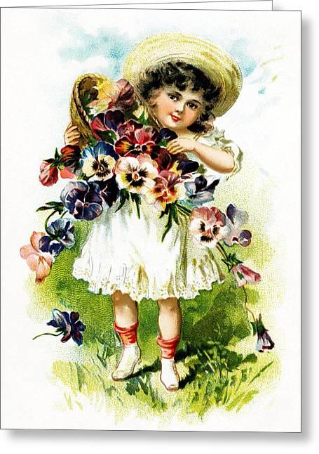 Christmas Greeting Photographs Greeting Cards - Vintage Flowers Girl Greeting Card by Munir Alawi