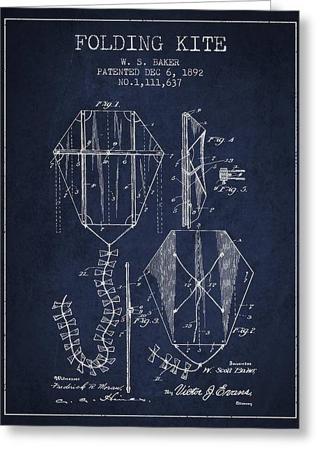 Vintage Folding Kite Patent From 1892 Greeting Card by Aged Pixel