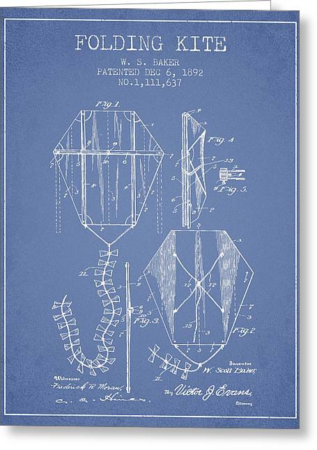 Child Toy Greeting Cards - Vintage Folding Kite Patent from 1892 -Light Blue Greeting Card by Aged Pixel