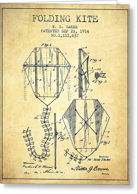 Child Toy Greeting Cards - Vintage Folding Kite Patent from 1914 -Vintage Greeting Card by Aged Pixel