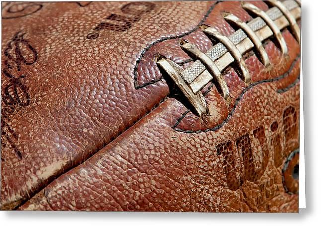 Pastimes Greeting Cards - Vintage Football Greeting Card by Art Block Collections