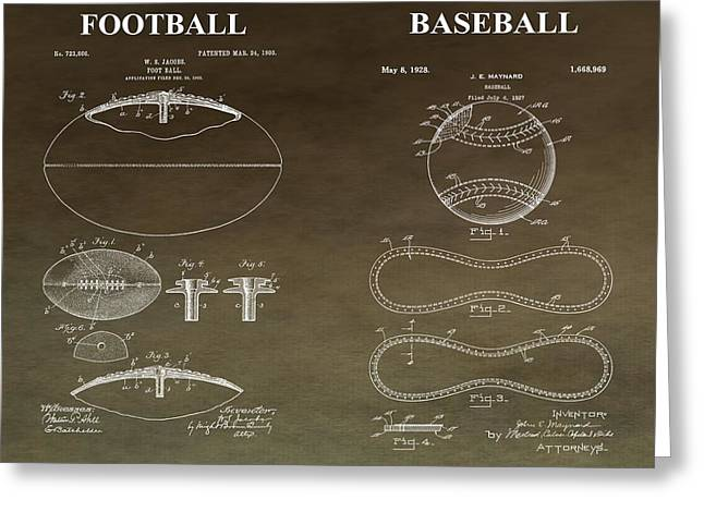 Gym Mixed Media Greeting Cards - Vintage Football Baseball Patent Greeting Card by Dan Sproul