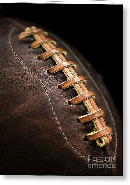 Leather Photographs Greeting Cards - Vintage Football Greeting Card by Diane Diederich
