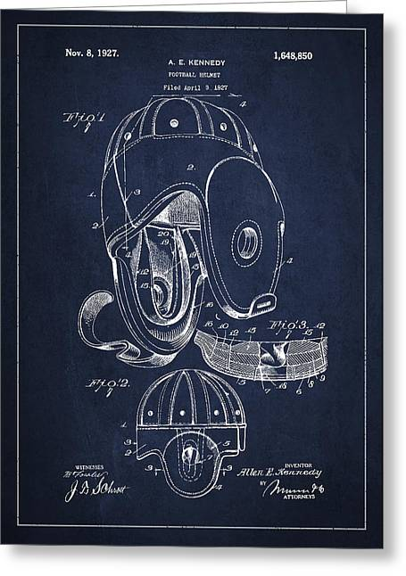 Football Helmets Greeting Cards - Vintage Football Helment Patent Drawing from 1927 Greeting Card by Aged Pixel