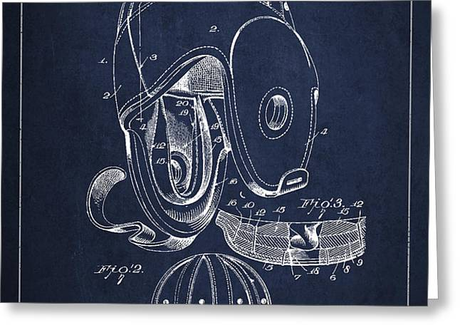 Vintage Football Helment Patent Drawing from 1927 Greeting Card by Aged Pixel