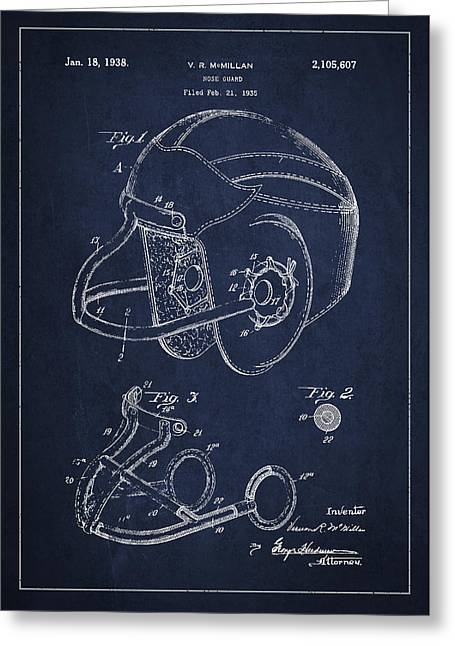 Football Helmets Greeting Cards - Vintage Football Helment Patent Drawing from 1935 Greeting Card by Aged Pixel