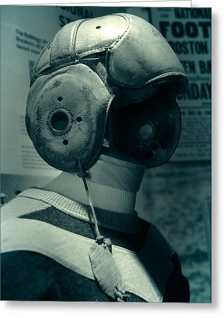 Foxboro Greeting Cards - Vintage Football Helmet Greeting Card by Mike Martin