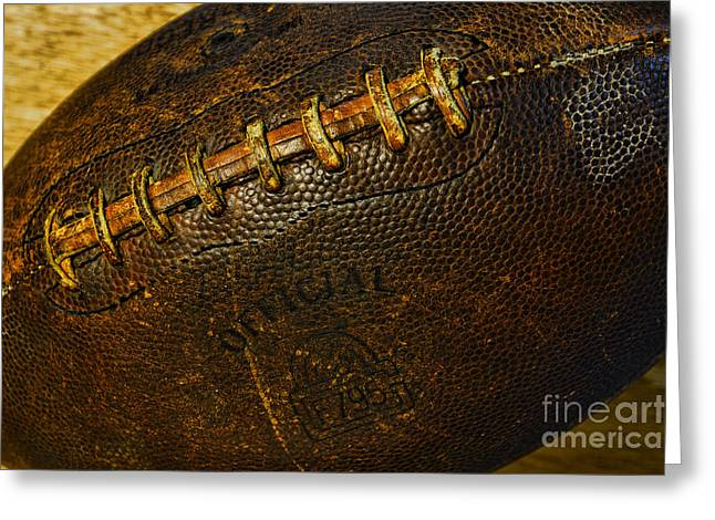 Kick Off Greeting Cards - Vintage Football Greeting Card by Paul Ward