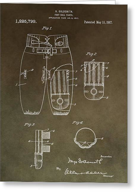 Vintage Football Uniform Patent Greeting Card by Dan Sproul