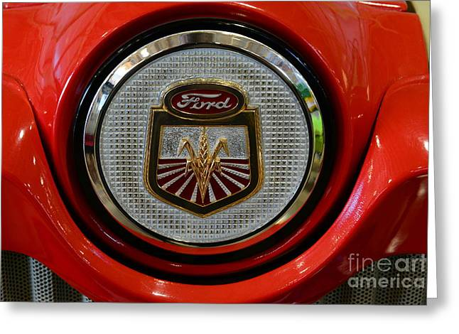 Pull Greeting Cards - Vintage Ford 861 Powermaster Tractor Badge Greeting Card by Paul Ward