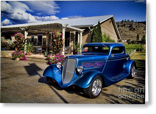 Okanagan Valley Greeting Cards - Vintage Ford Coupe at Oliver Twist Winery Greeting Card by David Smith