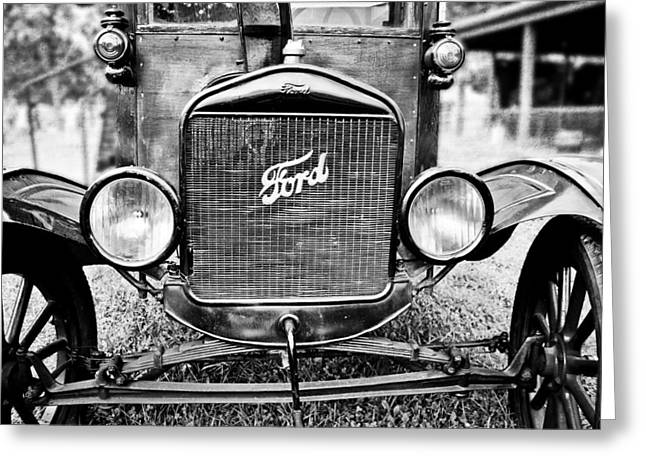Ford Model T Car Greeting Cards - Vintage Ford in Black and White Greeting Card by Colleen Kammerer